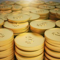 Group of golden Bitcoin coins, 3d rendering